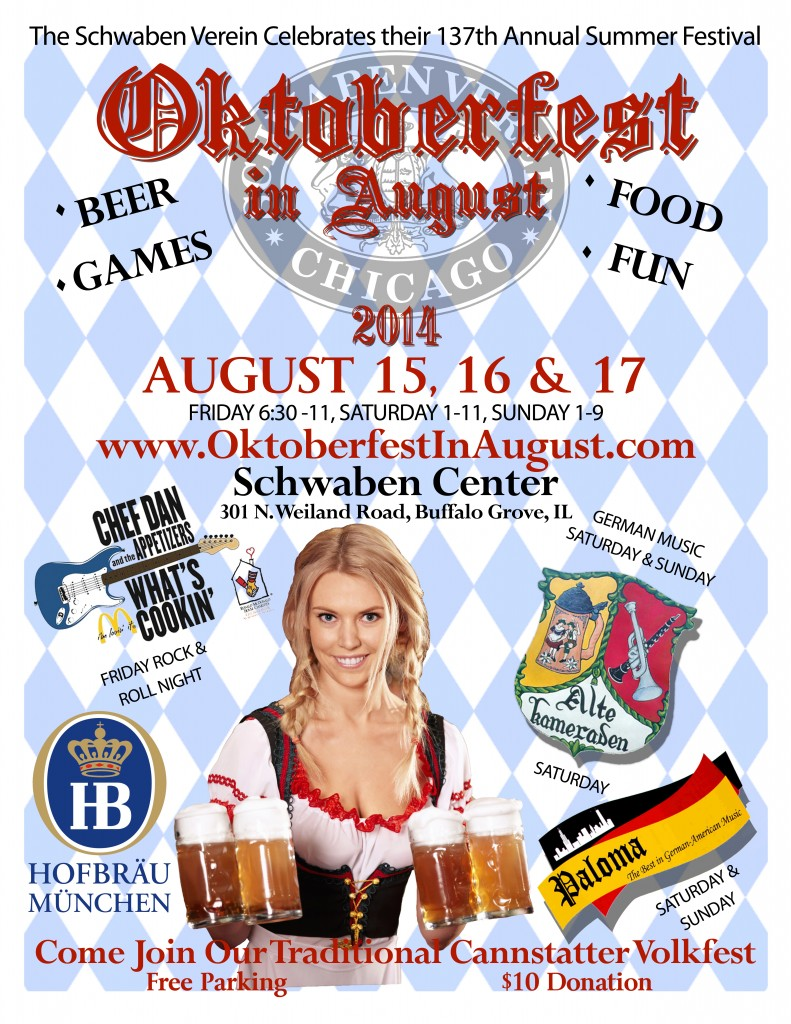 Oktoberfest in August, Schwaben Verein of Buffalo Grove Illinois fundraising annual summer festival.