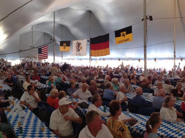 Under the tent at Oktoberfest in August.